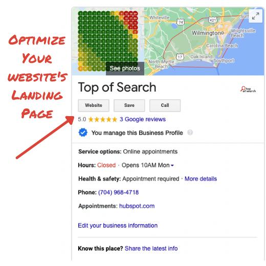 GMB Profile Landing Page