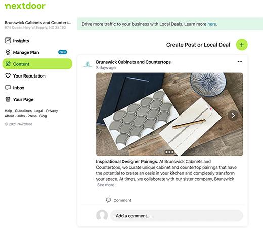 NextDoor Local Business Page